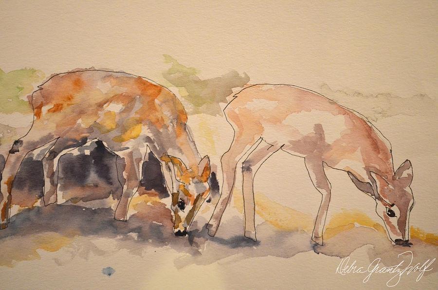 Oh Deer Painting by Debra Grantz Wolf