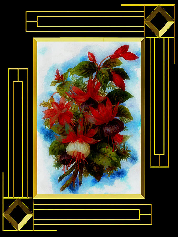 Floral Bouquet in Deco Art Frame by Mario Carini