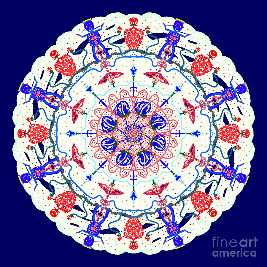 Floral Charactered Abstract Mandala by Catherine Lott