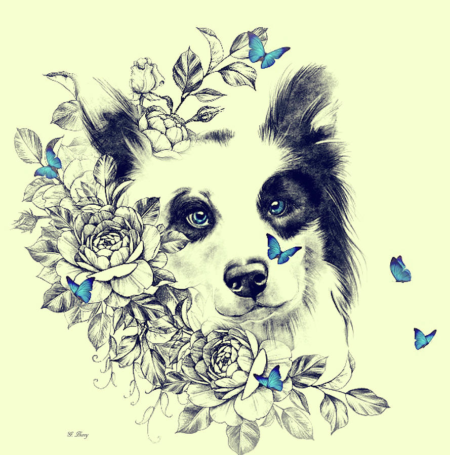 FLORAL COLLIE 002 by G Berry
