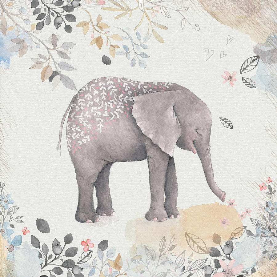 Illustration Mixed Media - Floral Fantasy Elephant by Amanda Lakey