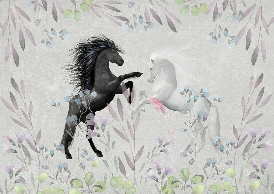Vector Mixed Media - Floral Fantasy Horses by Amanda Jane