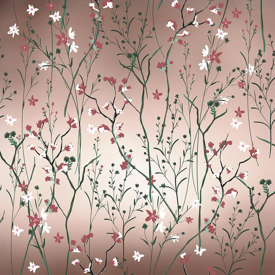 Floral Garden Rose Gold And Blush Pink Abstract Pattern Digital