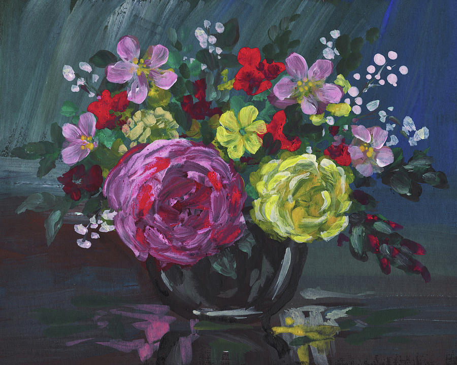 Floral Impressionistic Still Life With Roses by Irina Sztukowski