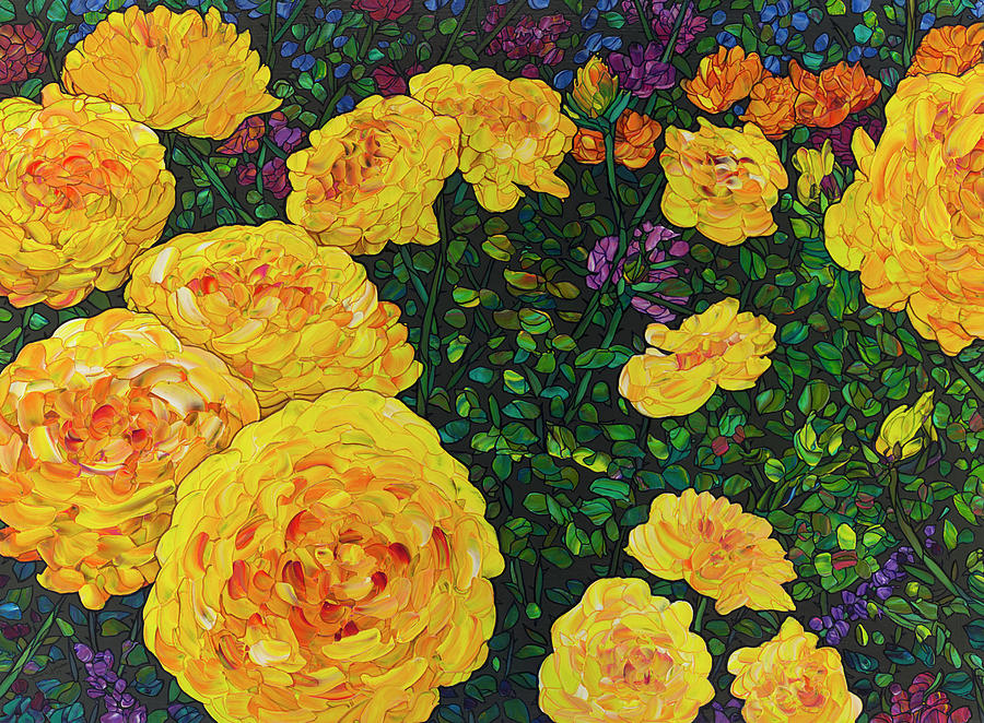 Floral Interpretation - Rosebush by James W Johnson