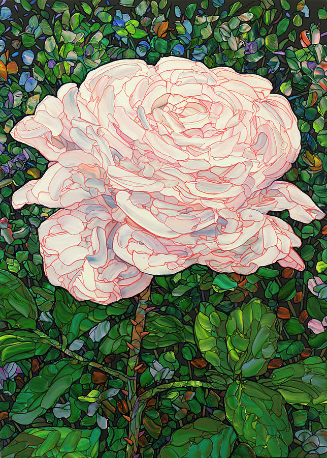 Floral Interpretation - White Rose by James W Johnson