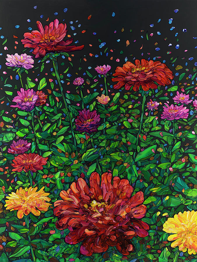 Floral Interpretation - Zinnias by James W Johnson