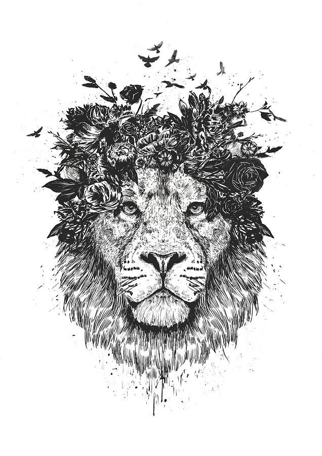 Lion Drawing - Floral Lion by Balazs Solti