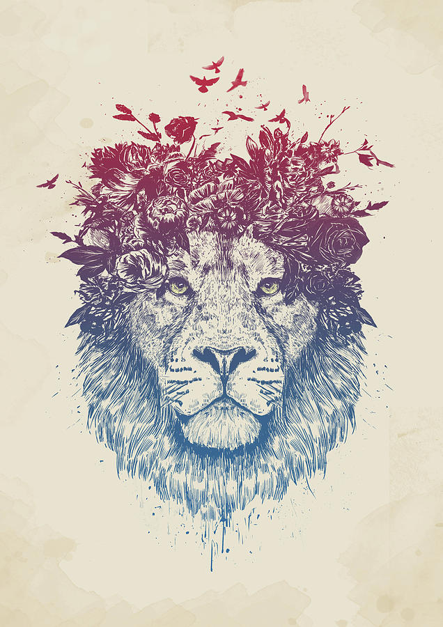Lion Drawing - Floral lion III by Balazs Solti