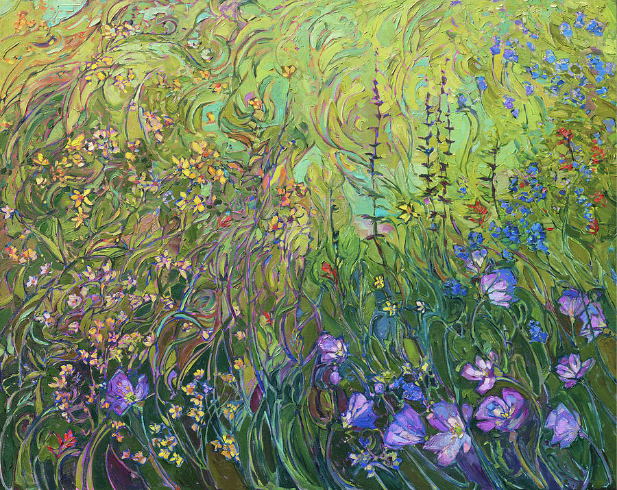 Floral Medley Triptych Center Panel by Erin Hanson