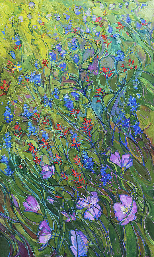 Floral Medley Triptych Right Panel by Erin Hanson