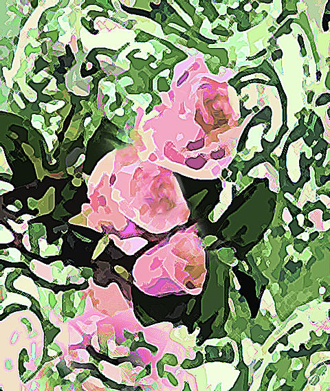 Floral of Pink Green and Yellow by Corinne Carroll