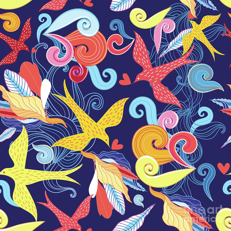 Floral Pattern With Birds Digital Art by Tanor