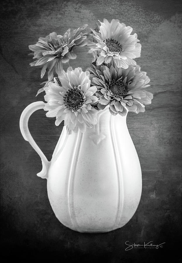 Floral Pitcher BW by Steve Kelley
