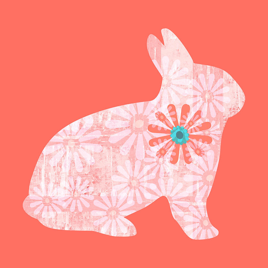 Floral Rabbit in Living Coral I by Marianne Campolongo
