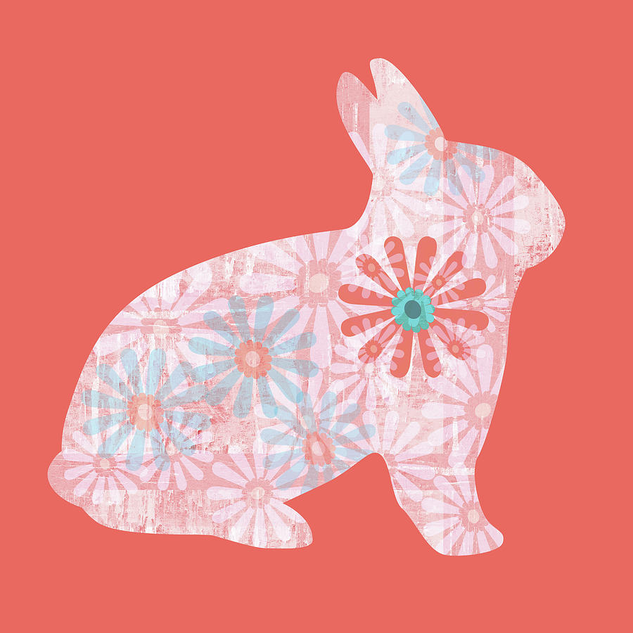 Floral Rabbit in Living Coral II by Marianne Campolongo
