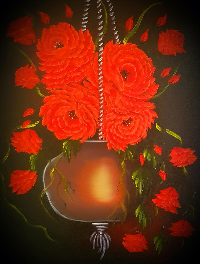 Red Painting - Floral Roses With So Much Passion Brighter Red Glow by Angela Whitehouse