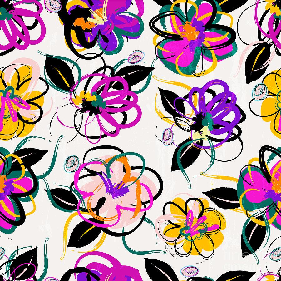 Delicate Digital Art - Floral Seamless Pattern Background by Kirsten Hinte