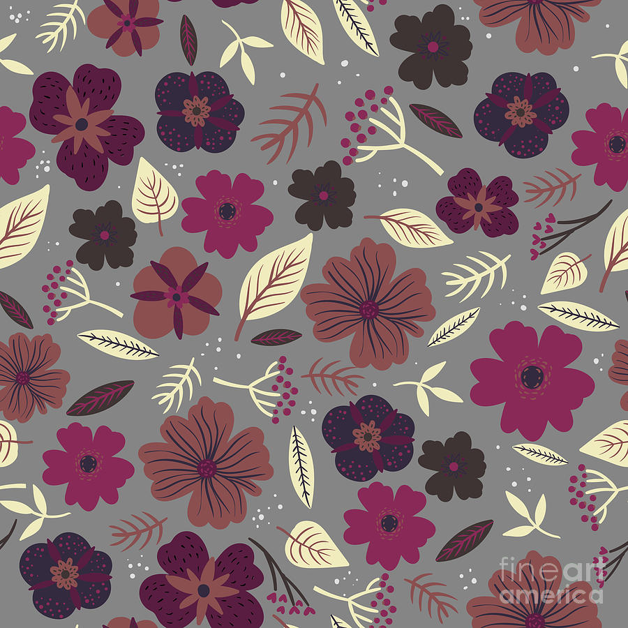 Romance Digital Art - Floral Seamless Pattern. Colored by Maria Sem