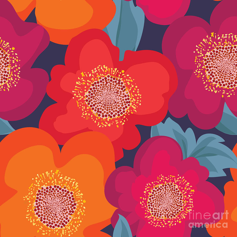 Curl Digital Art - Floral Seamless Pattern. Flower by Yoko Design