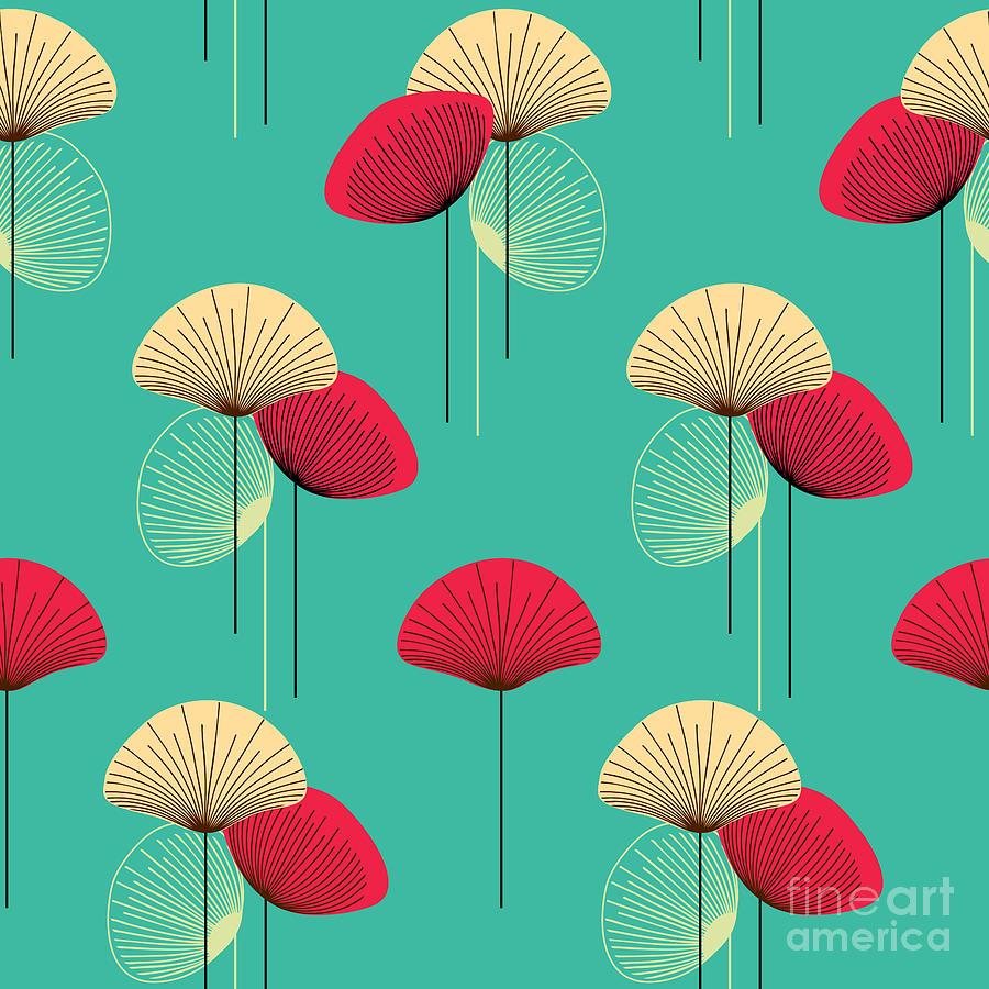 Deco Digital Art - Floral Seamless Vector Pattern by Trendywest