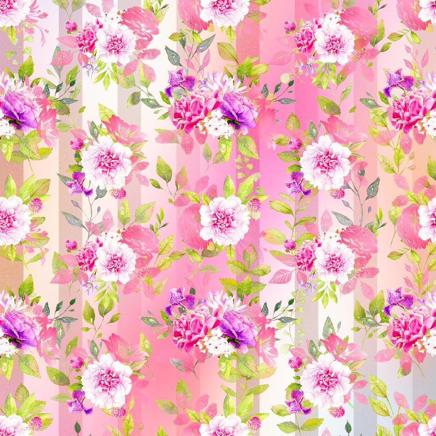Pretty Mixed Media - Floral Stripe Pattern by Amanda Lakey