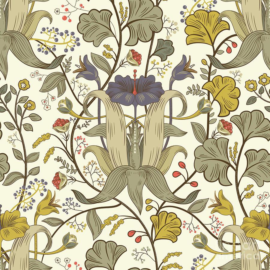 Floral Vintage Seamless Pattern. Retro Digital Art by Sunny lion
