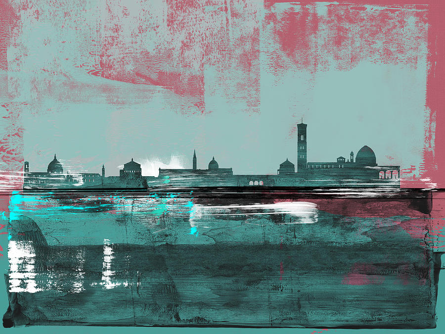 Florence Mixed Media - Florence Abstract Skyline II by Naxart Studio