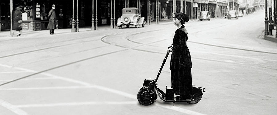 Florence Norman riding her motor-scooter in 1916 by Doc Braham