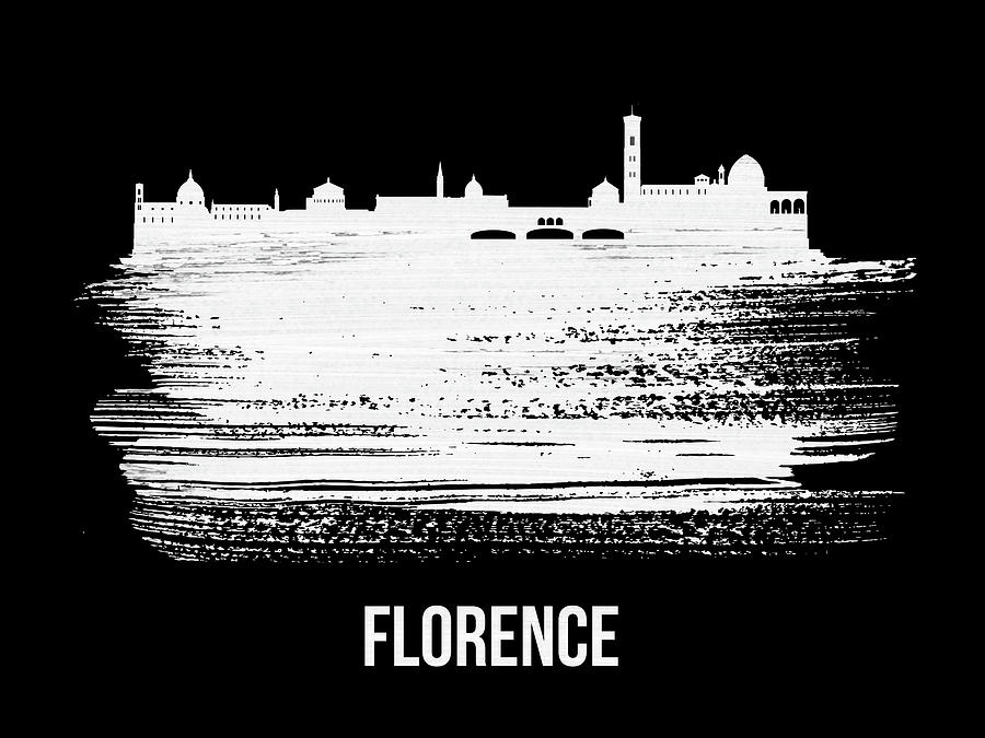 Florence Mixed Media - Florence Skyline Brush Stroke White by Naxart Studio