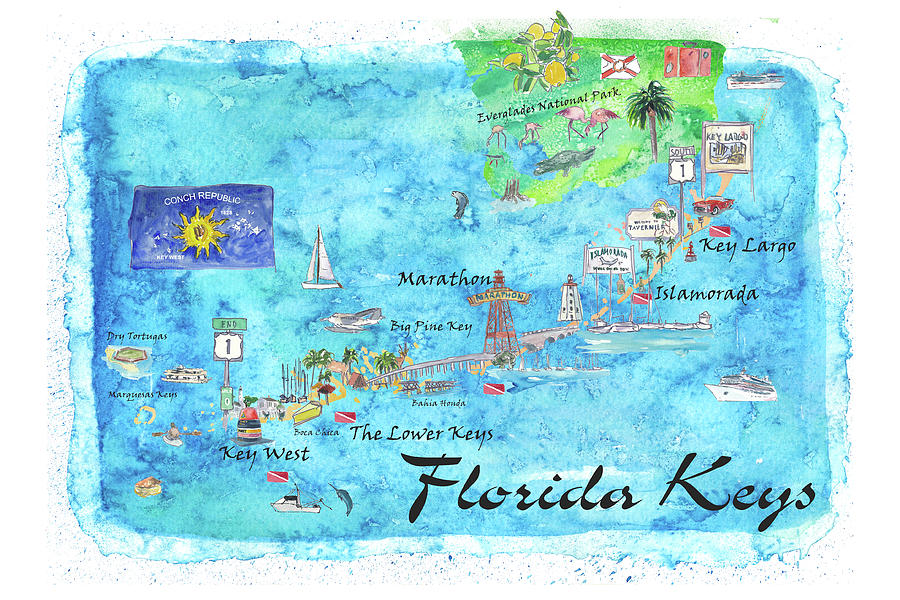 Map Of Florida Key West.Florida Keys Key West Marathon Key Largo Illustrated Travel Poster Favorite Map Tourist Highlights By M Bleichner