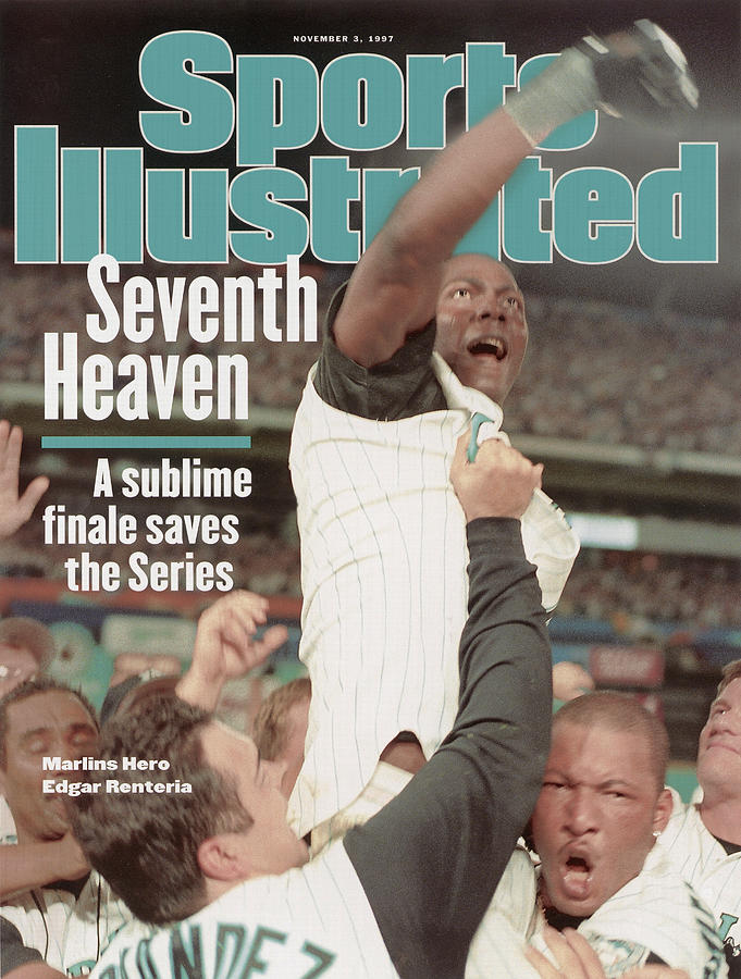 Florida Marlins Edgar Renteria, 1997 World Series Sports Illustrated Cover Photograph by Sports Illustrated