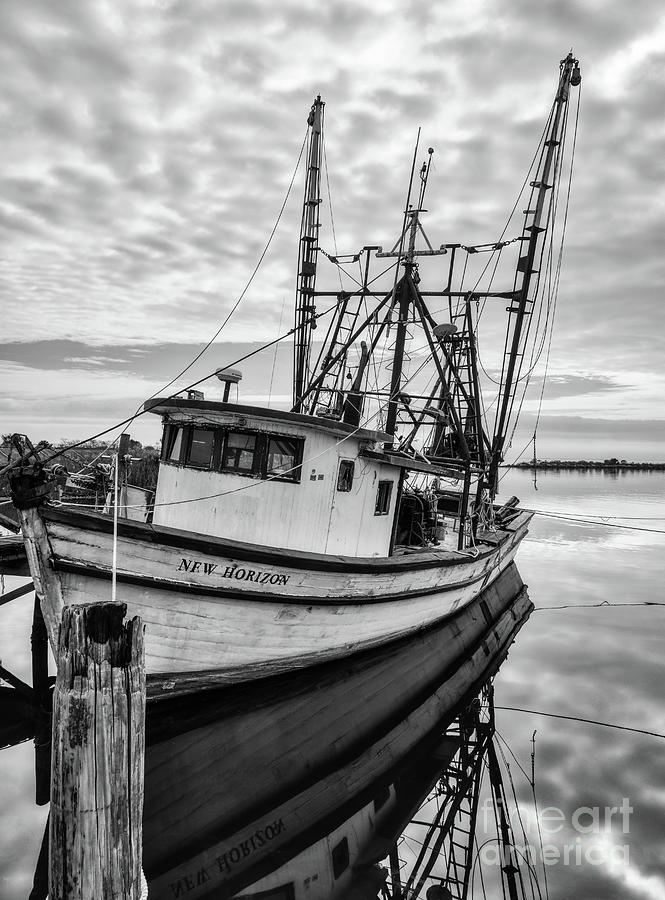 Florida Panhandle Fishing Boat Black and White by Mel Steinhauer
