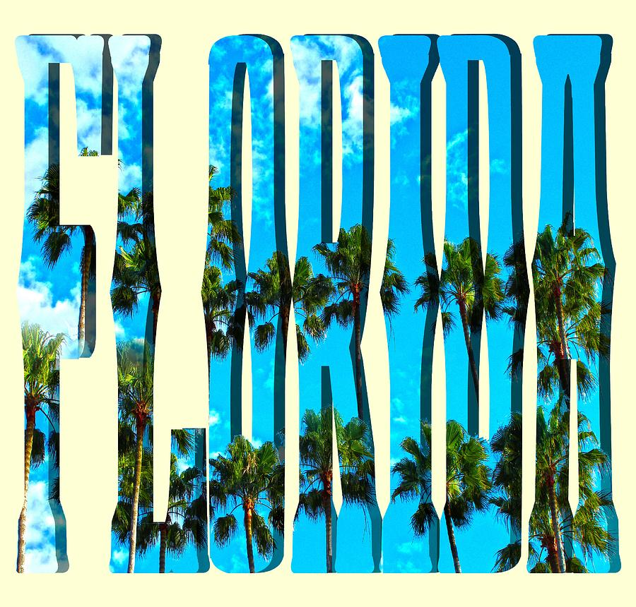 FLORIDA Text Palm Trees by Gravityx9 Designs