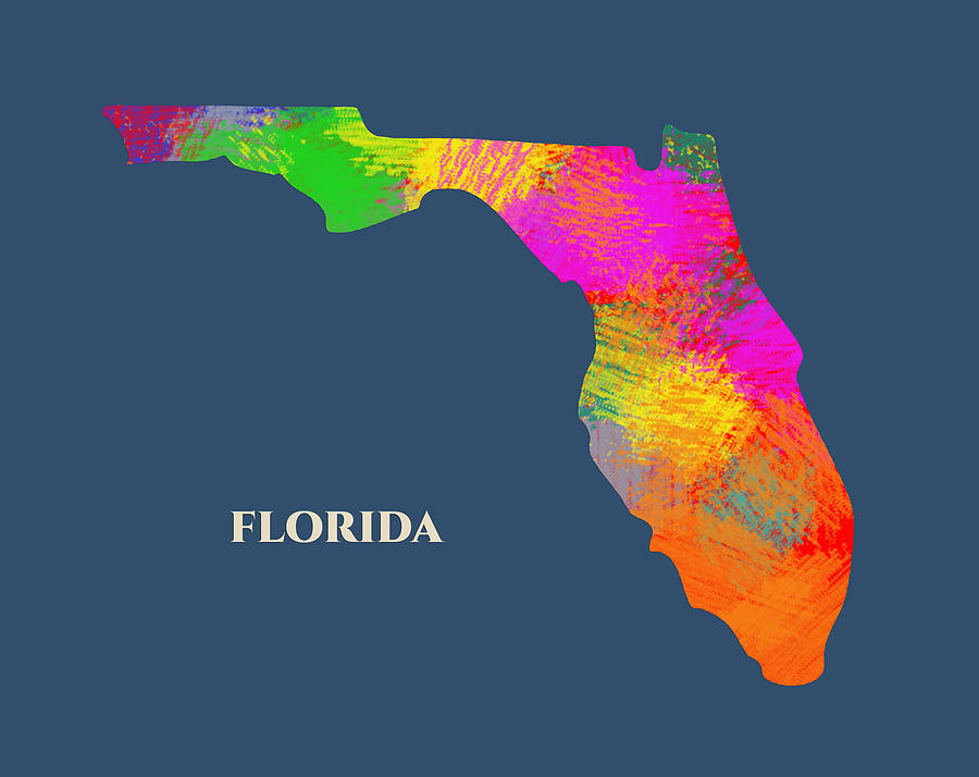 Florida Usa Map By Artist Singh
