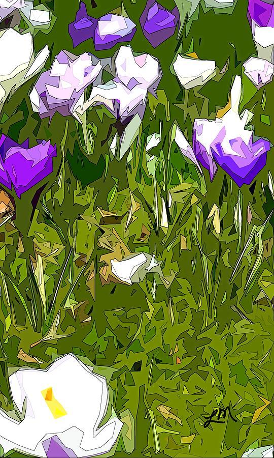 Abstract Digital Art - Flourishing Curiosity panel three of three by Linda Mears