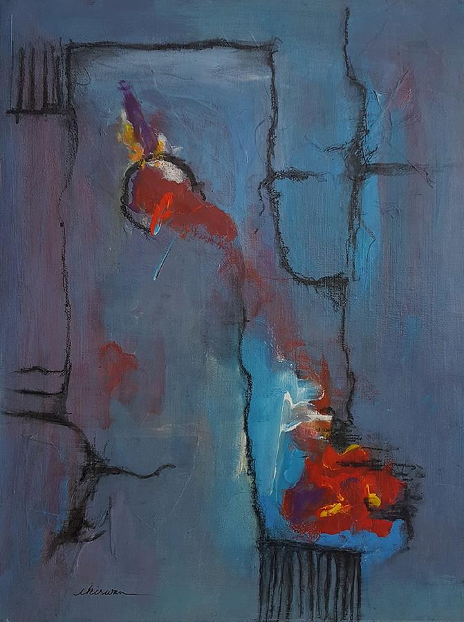 Abstract Mixed Media - Flow by Ellen Kirwan