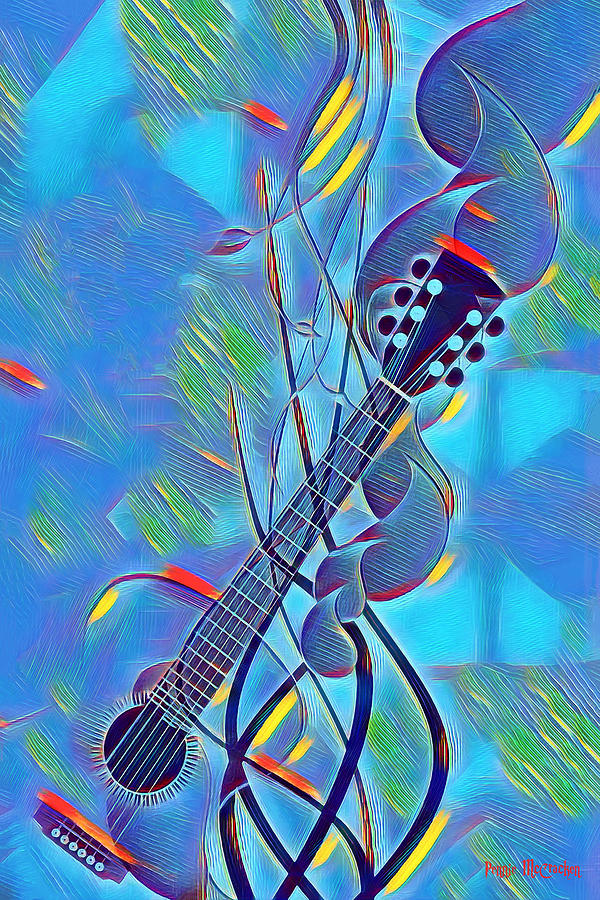 Guitar Digital Art - Flow Of Music by Pennie McCracken