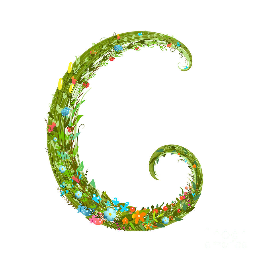 Delicate Digital Art - Flower Abc Sign G. Floral Summer by Popmarleo