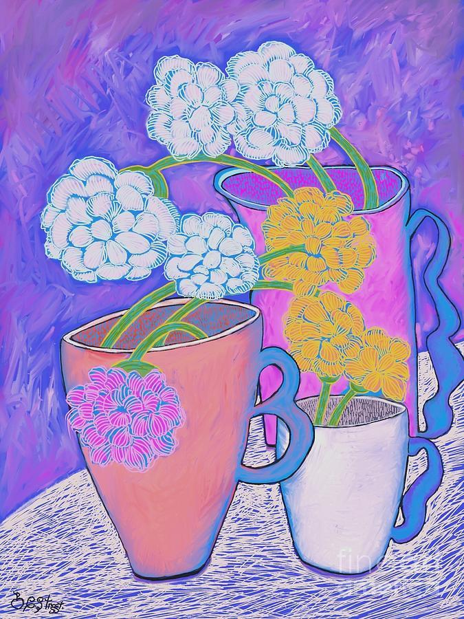 Flower Arrangements in Coffee Cups by Caroline Street
