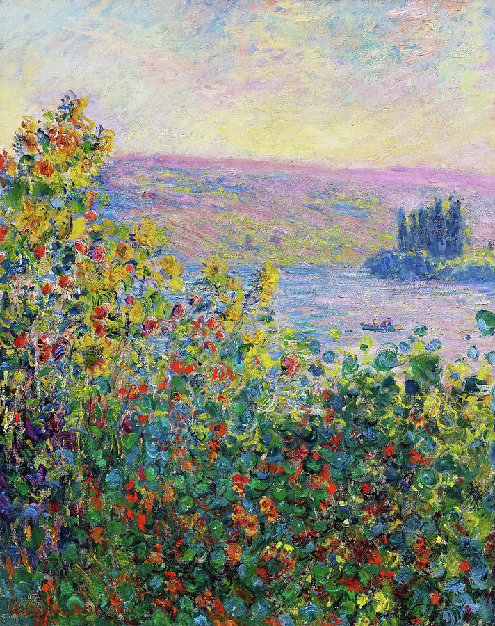Claude Monet Painting - Flower Beds At Vetheuil - Digital Remastered Edition by Claude Monet