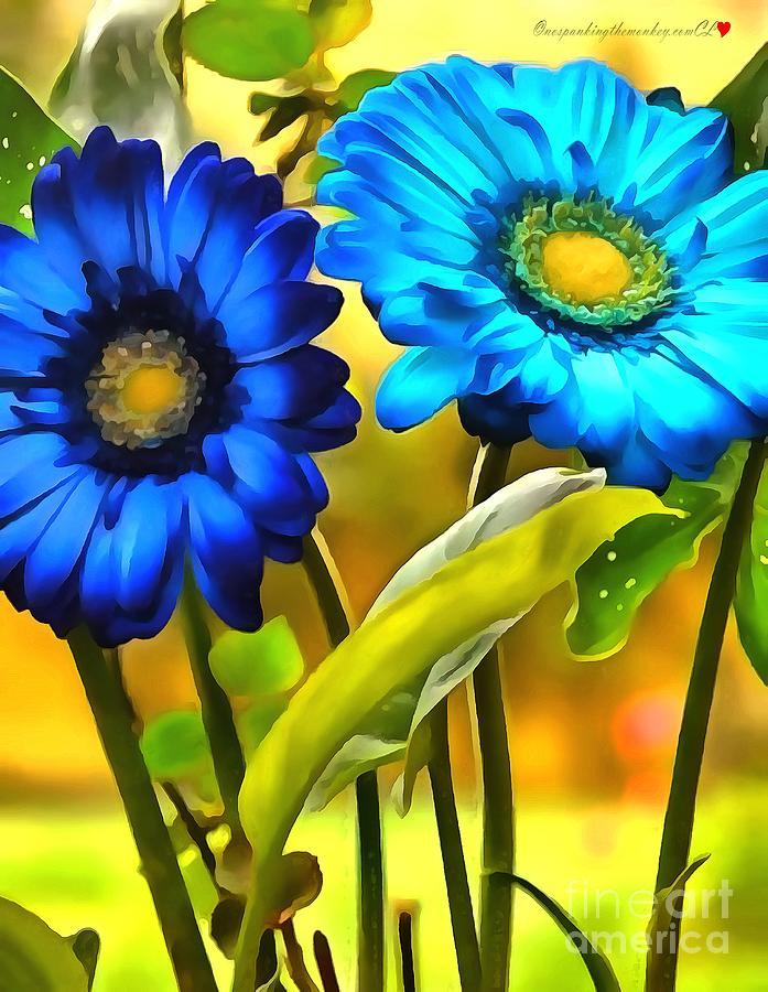 Flower Blue Daisy In Acrylic by Catherine Lott