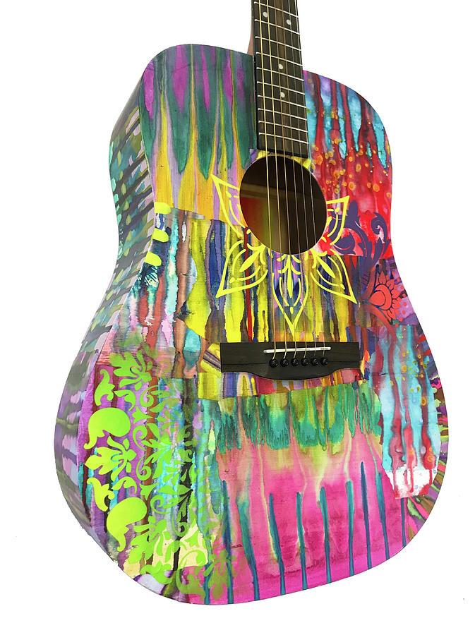Flower Fire Guitar by Dean Russo Art