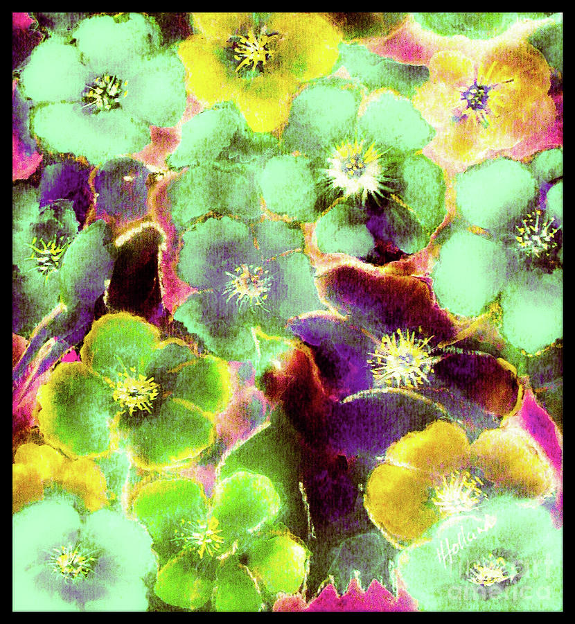 Flower Garden Fantasy In Green by Hazel Holland