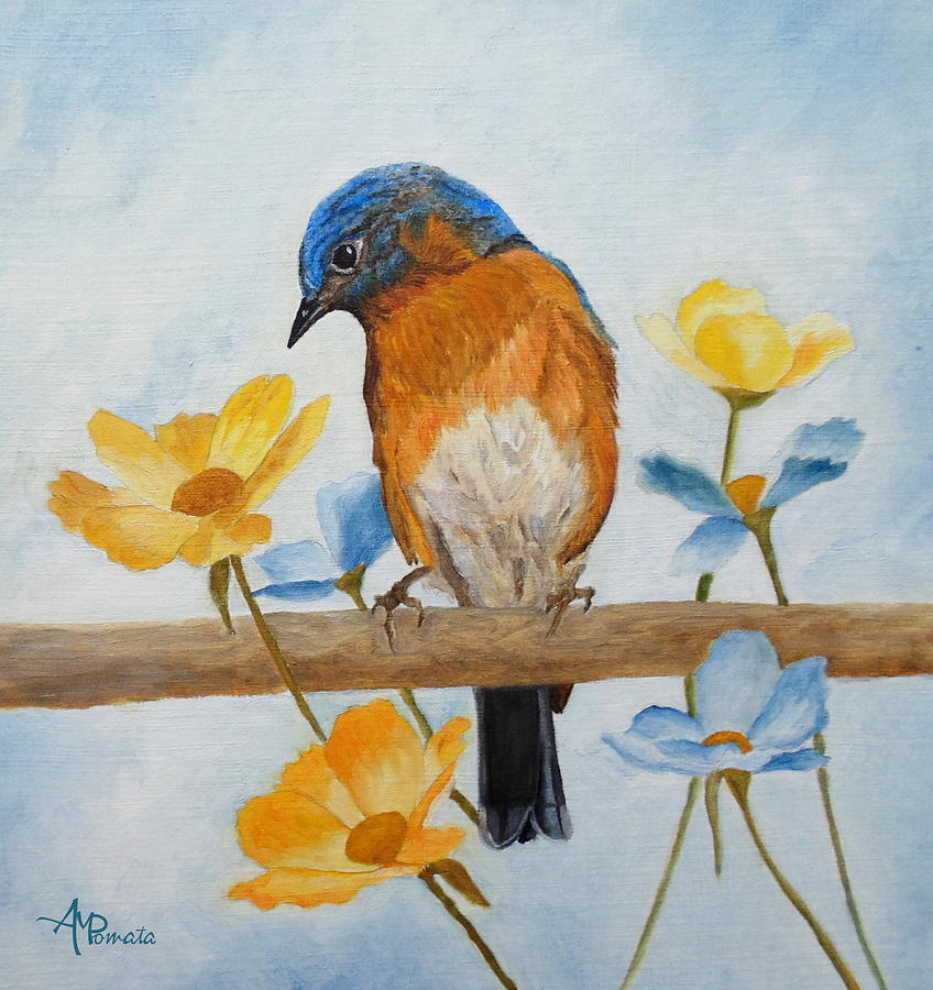 Flower Peeping Eastern Bluebird Painting By Angeles M Pomata
