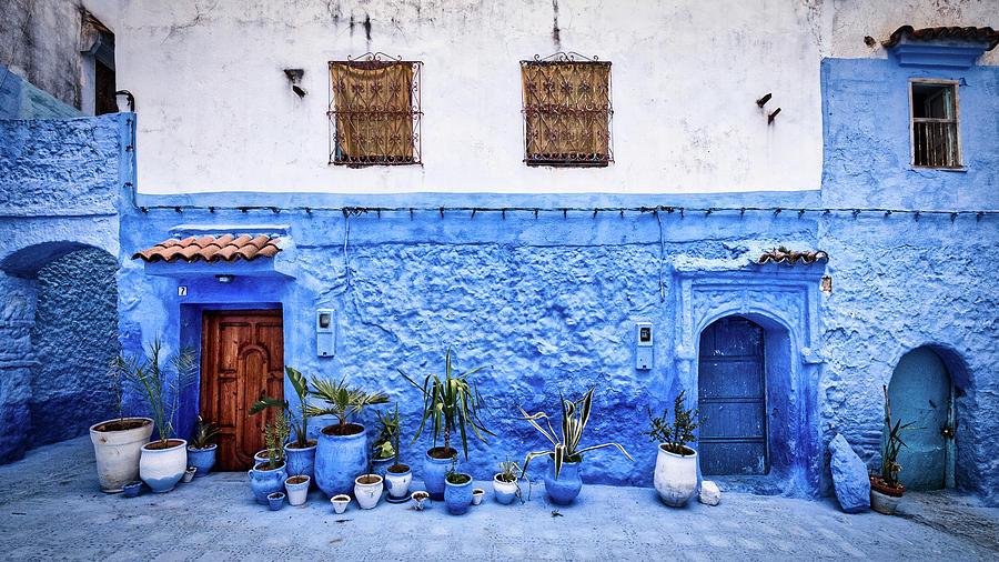 Flower Pots and and Doors - Morocco by Stuart Litoff