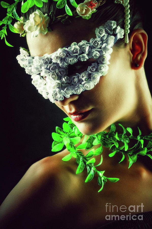Flower Princess Woman wearing masquerade carnival mask by Dimitar Hristov