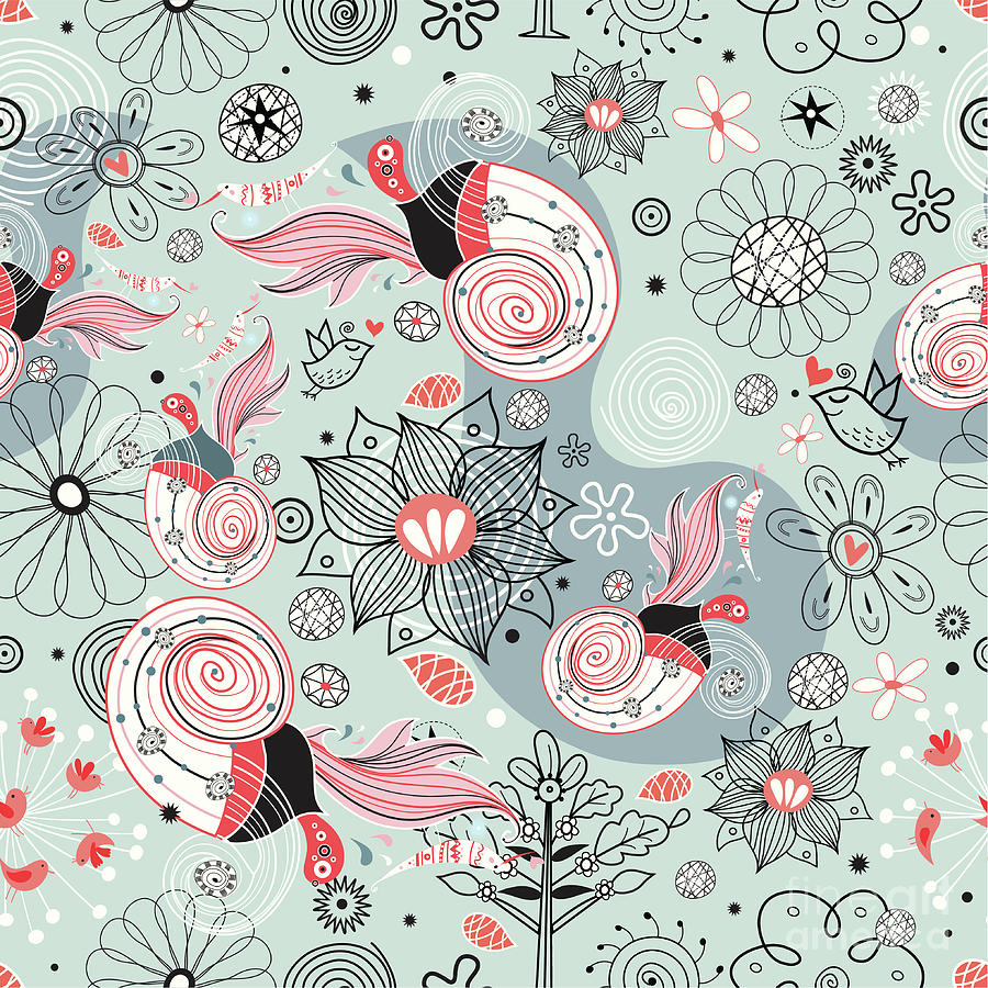 Flower Texture With Birds In Love Digital Art by Tanor
