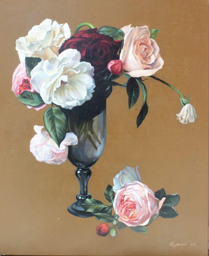 Dutch Still Life Painting - Flower Vase Painting Flowers Oil Picture Still Life by Lesya Rygorchuk & Flower Vase Painting Flowers Oil Picture Still Life Painting by Lesya ...