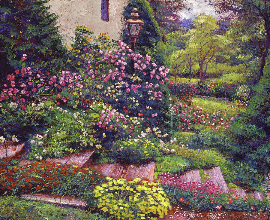 FLOWERS ALONG THE COTTAGE STEPS by David Lloyd Glover
